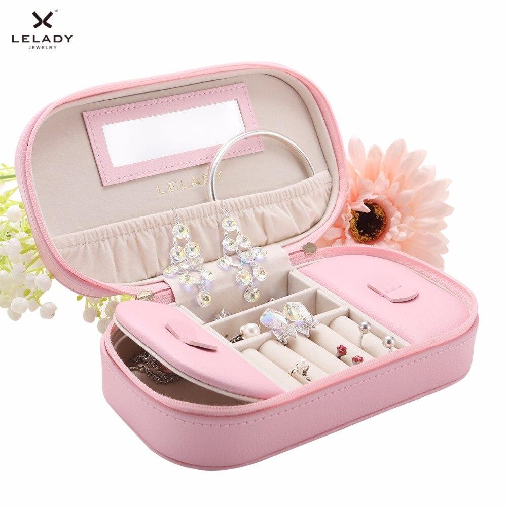 LELADY 17*5*10cm Jewelry Box Portable Travel Jewelry Organizer Case Leather Storage Jewelry Case With Mirror Jewelry Display Box