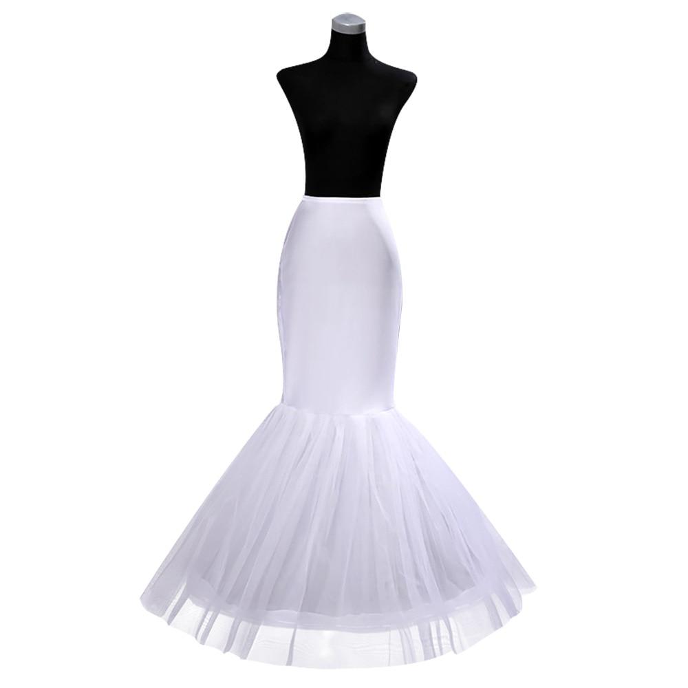 New White Mermaid Wedding Petticoats 1 Hoop Bone Cheap Crinoline Bridal Wedding Accessories Underskirt