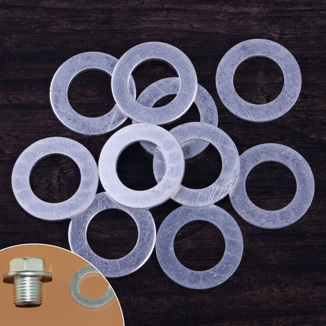 DWCX 10pcs 14mm Silver Engine Oil Drain Plug Crush Washer Gasket 9410914000  fit for Honda Civic