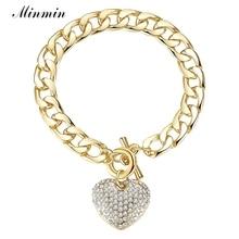 Heart Bracelets Bangles Crystal