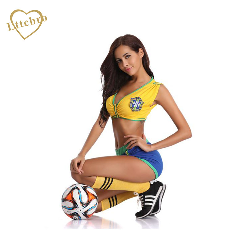 36d2992faa2 US $16.49 45% OFF|Women's Brazil Soccer Babe Lingerie Costume Set  Cheerleading Uniform for Sexy Football Short Sleeve Shirt Uniform Cosplay  Party-in ...