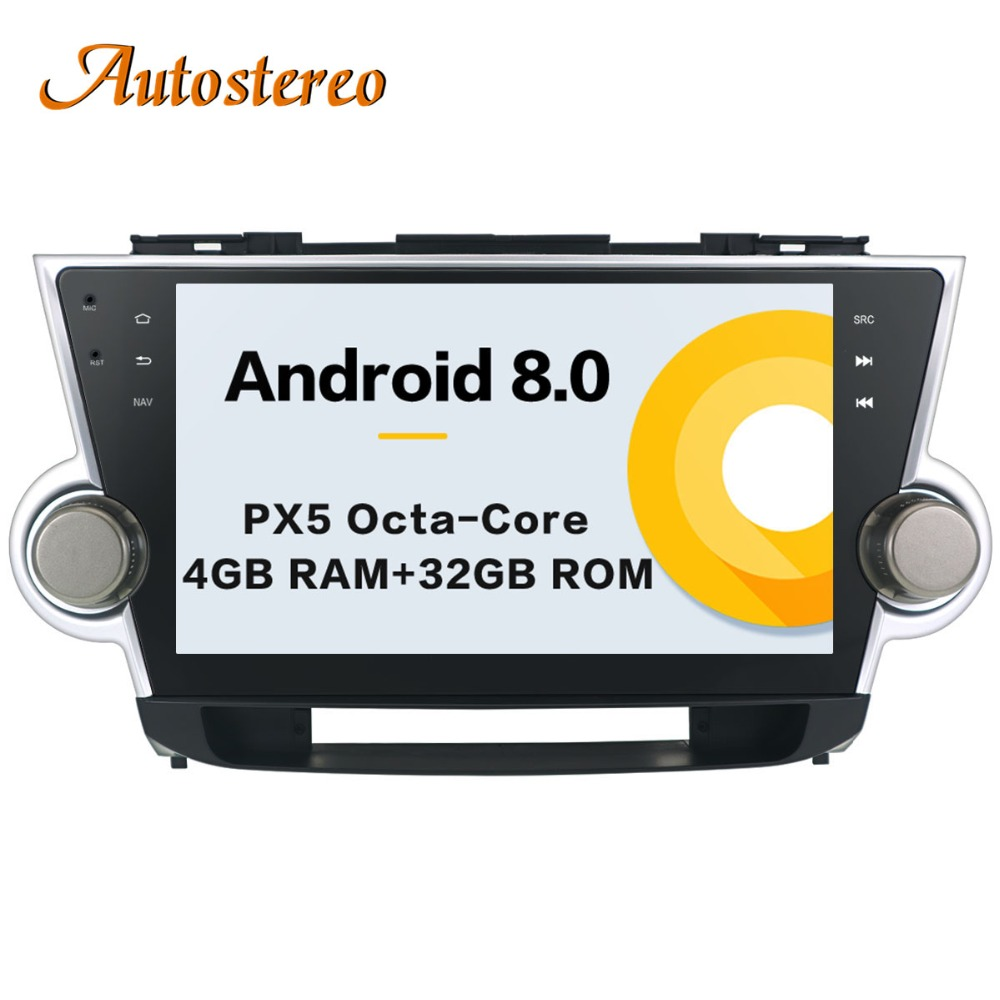 Auto stereo Android 8 Car No DVD player GPS Navigation For Toyota HIGHLANDER 2008 2014 multimedia radio tape recorder head unit-in Car Multimedia Player from Automobiles & Motorcycles    1