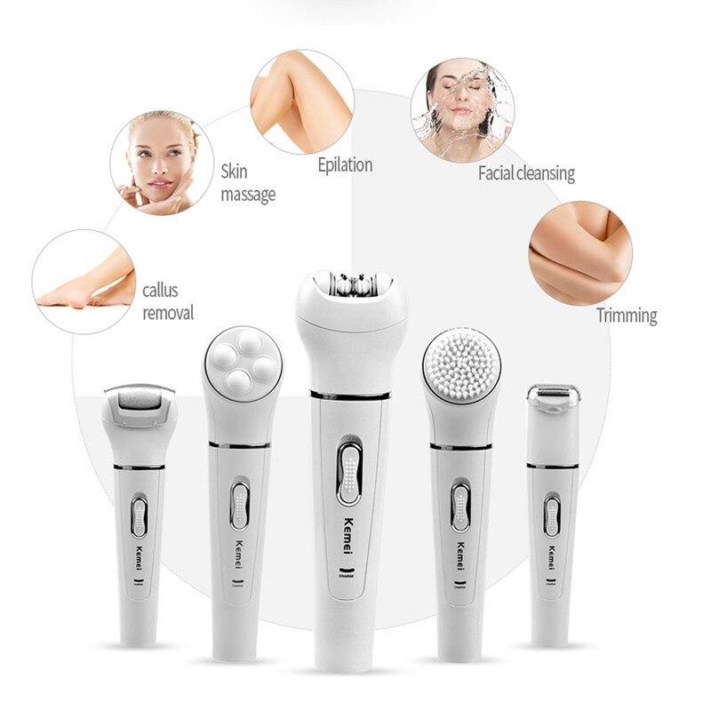 все цены на Kemei 5in1 Multifunction Female Epilator electric face cleaning brush hair removal depilation machine depilatory women shaver 5 онлайн