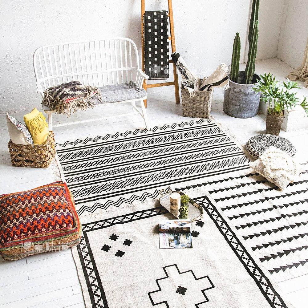 Online-Shop Kelim schwarz weiß 100% baumwolle wohnzimmer Teppich ...