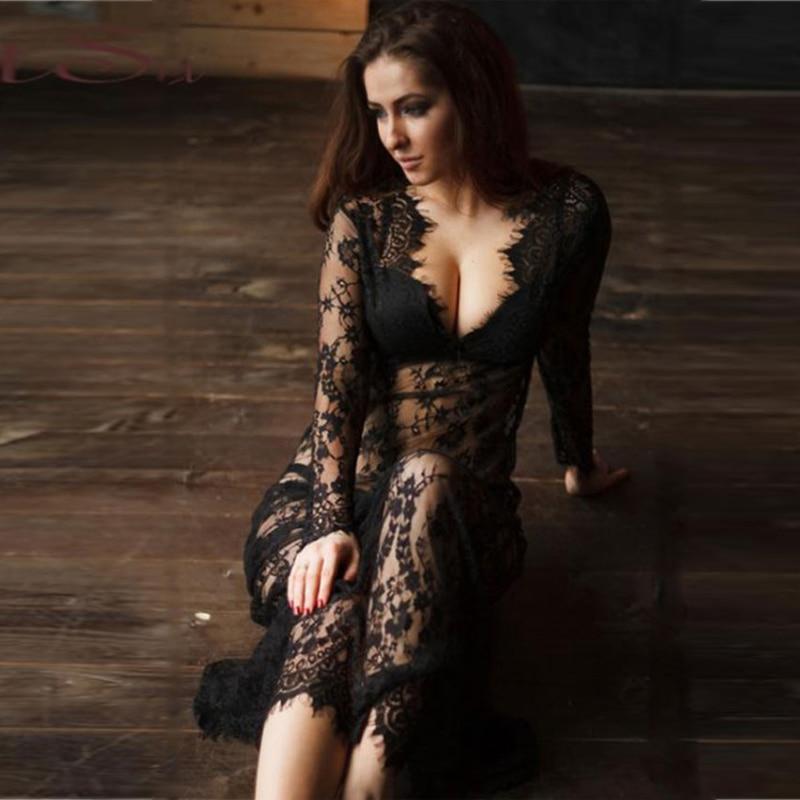 Long Lace Robe Women Sexy Underwear Plus Size Long Sleeve V Neck Transparent Black White Sexy Dress Erotic Lingerie Dress R80497
