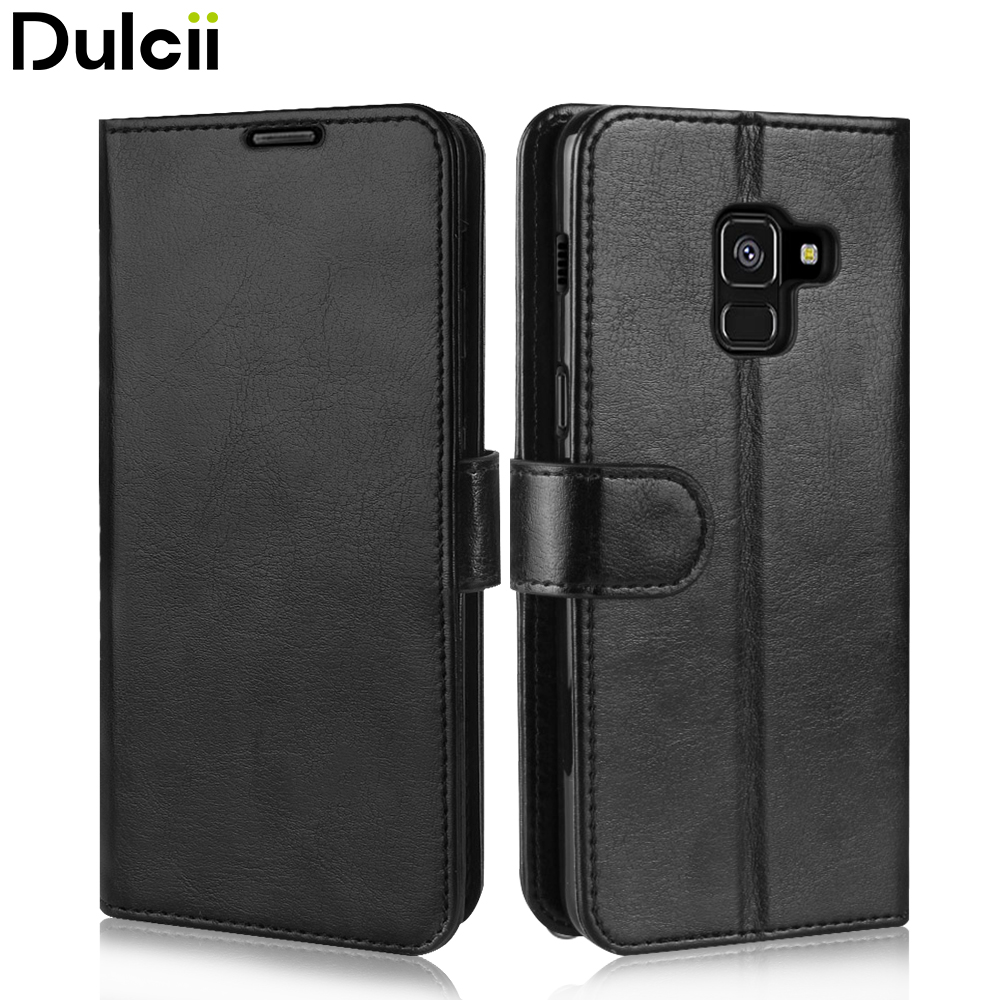 Dulcii for Samsung A8 2018 Case for Samsung Galaxy A8 2018 Phone Bag Shell Crazy Horse Wallet PU Leather Cases Cover