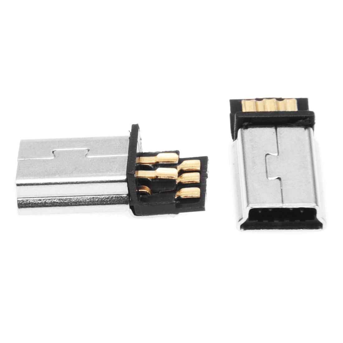 Najwyższa jakość 10 sztuk Mini USB 5 Pin męski wtyk złącze smt diy srebrny Tone ciemnoszary