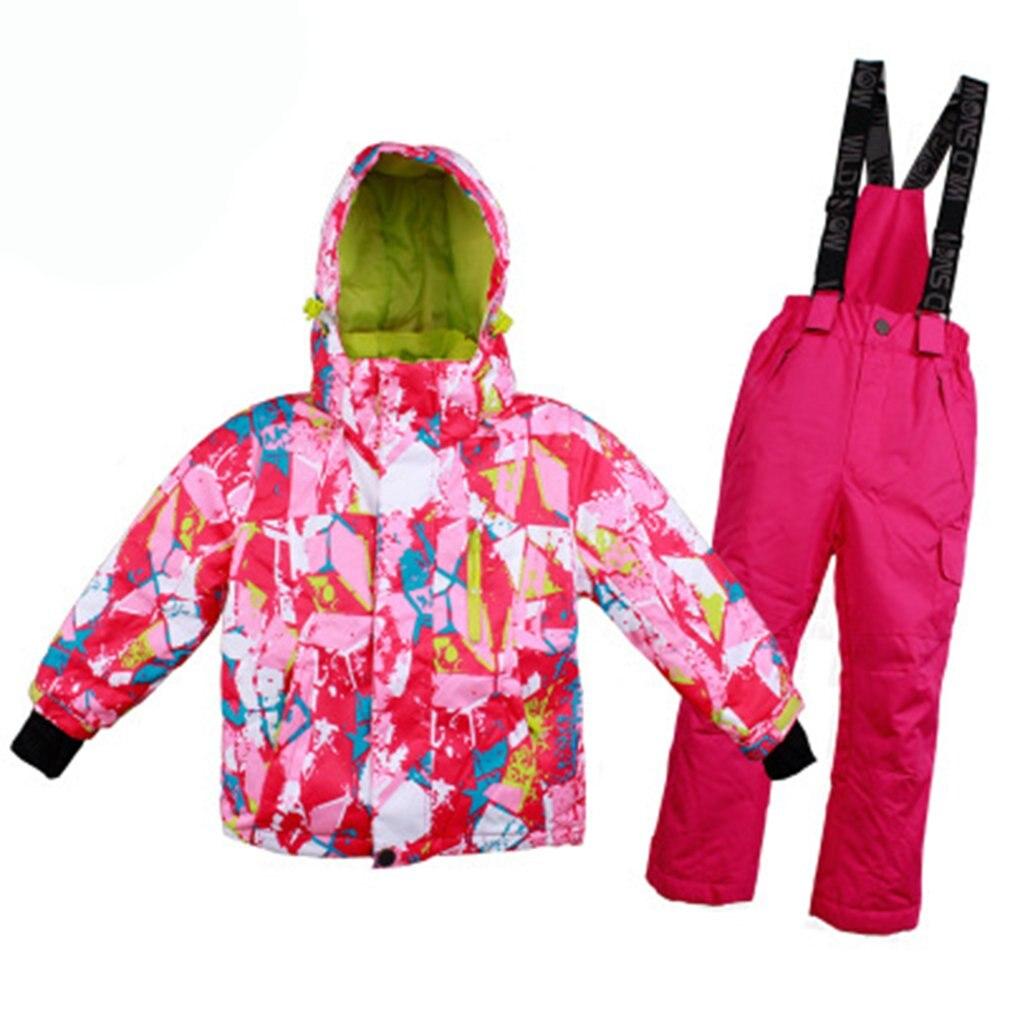 Garçons/Filles Combinaison de Ski Imperméable Pantalon + Veste Ensemble fiber de Polyester Sports D'hiver Épaissie Vêtements Combinaisons de Ski pour Enfants 2018