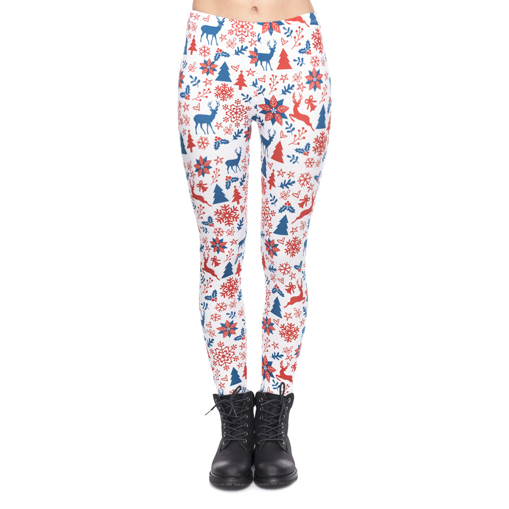 New Arrival Women Legging Red And Navy Christmas Printing Leggings Fashion Fitness High Waist Woman Pants