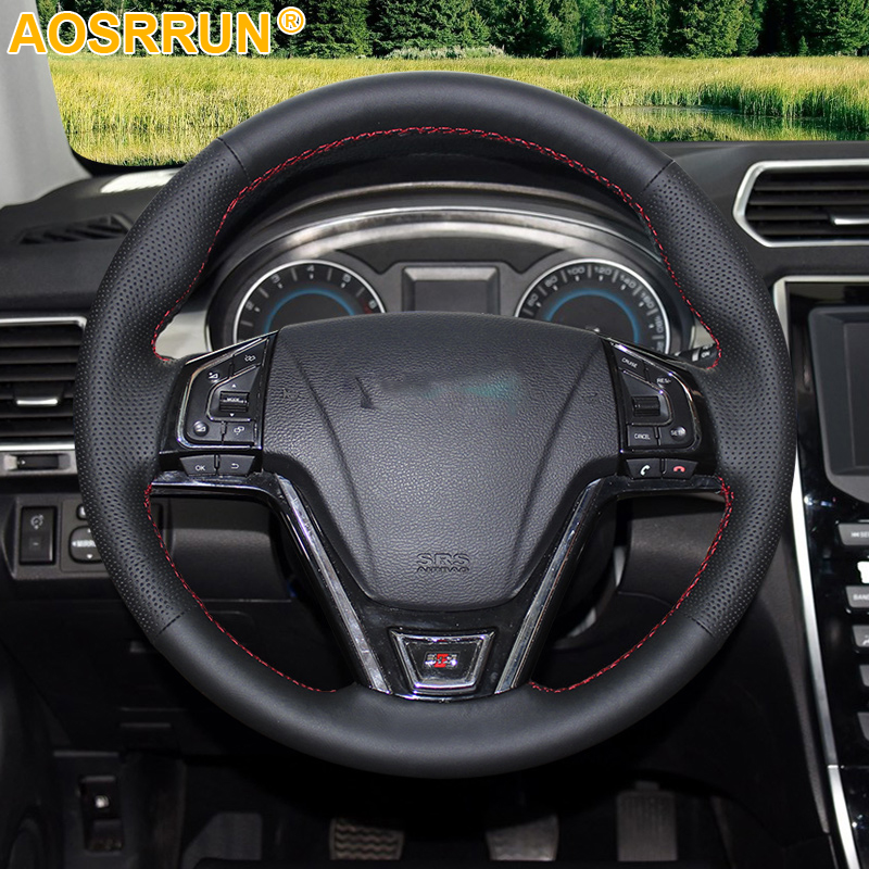 AOSRRUN Leather Hand-stitched Car Steering Wheel Covers For Great Wall Haval Hover H2 H7 2014 2015 2016 2017 2018
