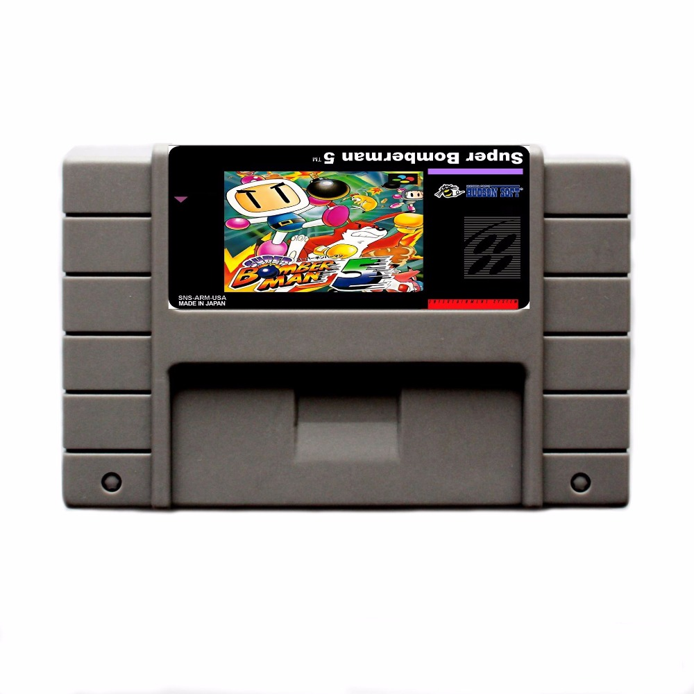Super Bomberman 5 16 bit Big Gray Game Card For USA NTSC Game Player