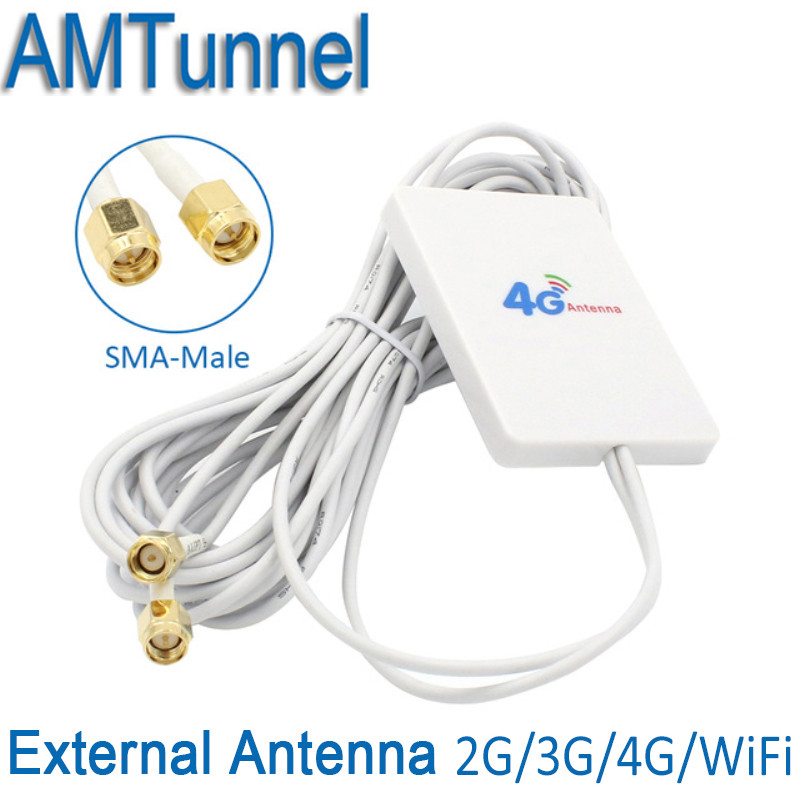 4gantenna 3G 4G modem antenna 4G External Pannel Antenna with SMA male and 3m cable for Huawei 3G 4G LTE Router Modem цена и фото
