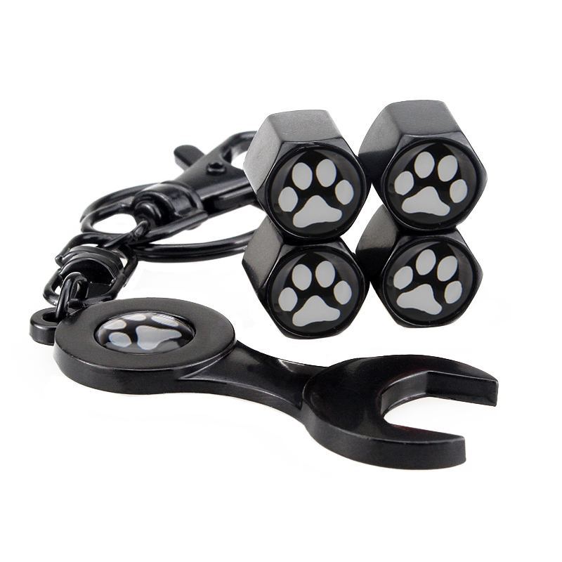 Automobile Motorcyles Wheel Tires Valve Stems Cover Dustproof 4pcs Wrench Keychain Pendant Car Accessories Caps Bears Paw Cute