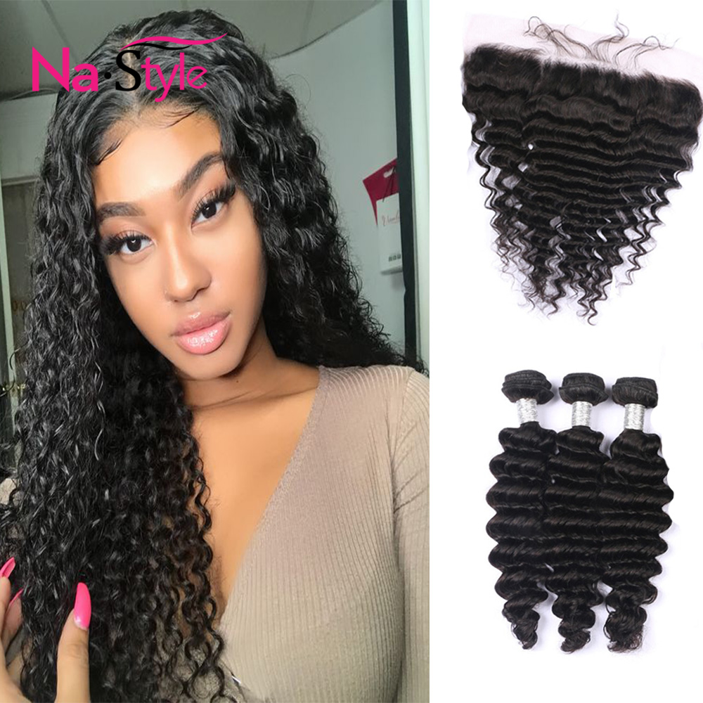 Deep Wave Frontal Deep Wave Bundles With Frontal 13x6 Lace Frontal Lace Peruvian Hair Bundles Human