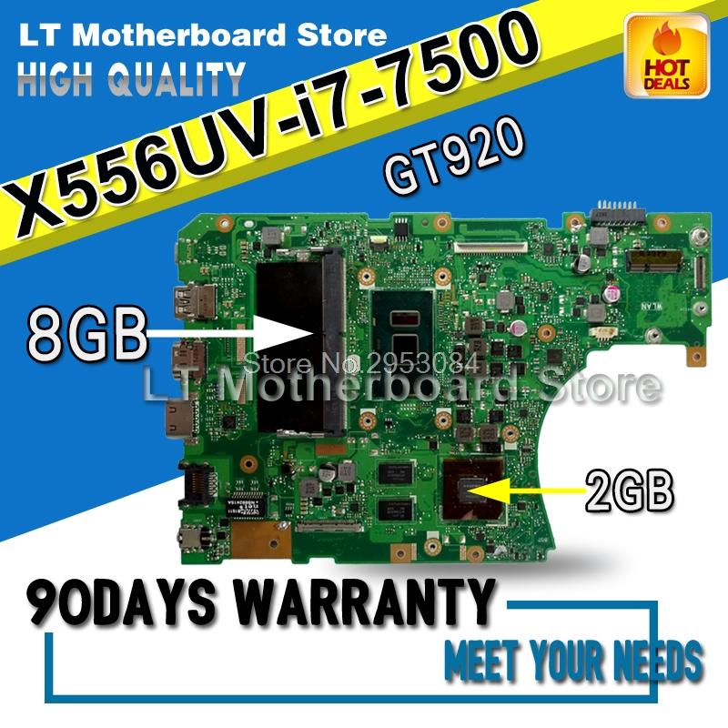 Laptop Motherboard For ASUS X556U X556UV X556UV Main Board X556UB X556UR i7-7500U REV:3.0 GT920M 2GB with 8GB Memory On Board x556u usb board for asus x556u x556uj x556ujq x556ub x556ua x555uv laptop dedicated rev 2 0 usb io board tested well