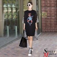 Donne Nero Summer Sun Dress Mezza Manica Modello di Carattere Paillettes A Righe Patchwork Plus Size Streetwear Casuale Midi Dress 2226