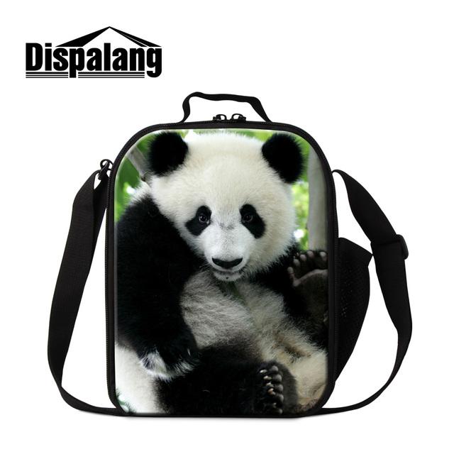 Dispalang 2017 novo design 3d panda impresso almoço térmica mais frio sacos para meninos crianças lancheira portátil saco da forma crossbody sacos