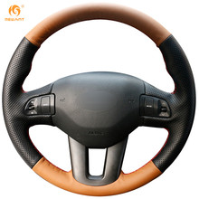 MEWANT Orange Black Leather Car Steering Wheel Cover for Kia Sportage 3 2011-2014 Kia Ceed Cee'd 2010-2012