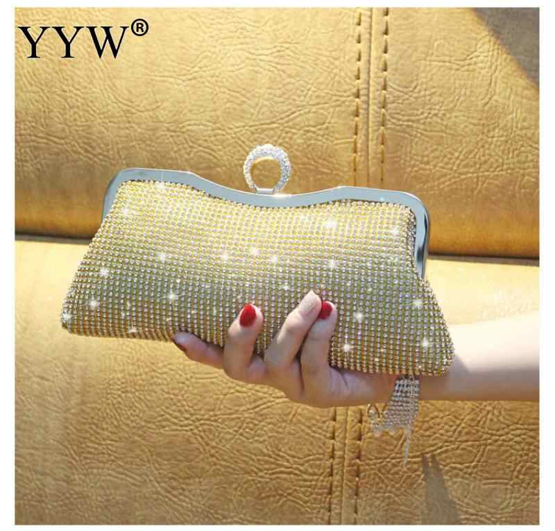 c0cec107b80a0 ... Women Rhinestone Evening Clutch Bags Mini Shiny Open Clutches Bag Gold  Silver Twinkly Female Handbag Purse ...