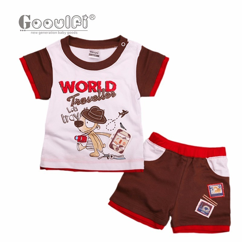 Gooulfi Baby Set Summer 2017 Newborn Baby Boy Clothes Short Sleeves Outfit Clothes Set Age 0-18m Baby Clothing Set Gentleman baby set baby boy clothes 2 pieces