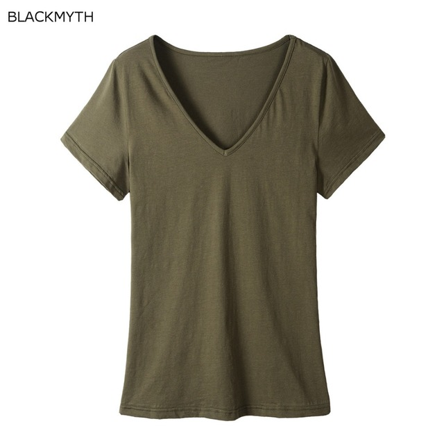 c9c301d12af8 BLACKMYTH Women's V-Neck Plain T shirts Summer Short Sleeve Blank Top T Shirts  Tee