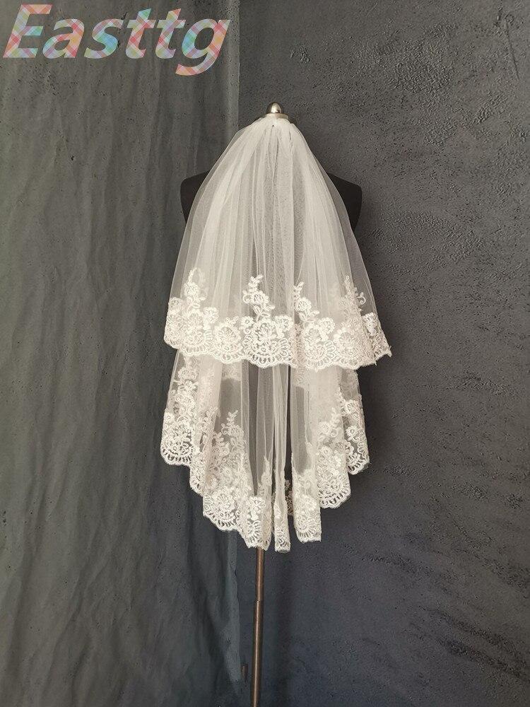 Veu De Noiva White Ivory Elbow Length Veil Wedding Veils Two Layer Lace Bridal Accessories Veil with Comb Velos De Novia