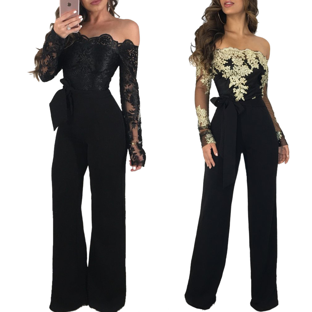 Lace Patchwork Jumpsuit Girls Horny Off Shoulder Slash Neck Lengthy Sleeve Girls Jumpsuit Elegant Slim Vast Pants Jumpsuit