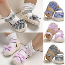 2019 New Newborn Infant Baby Girls Princess Bowknot Shoes Soft Sole Canvas Sandals Shoes
