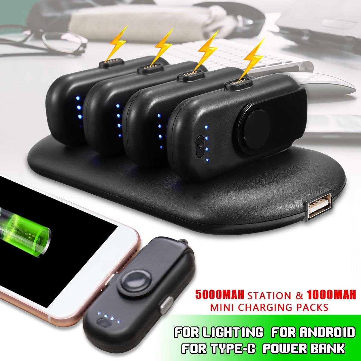 LEORY 4 Dans 1 Mini Portable Puissance Banque Magnétique Doigt Pow Chargeur Pour iPhone Foudre/Android/Type- C Portable Chargeur