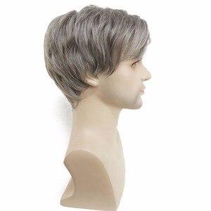 Image 2 - StrongBeauty của Nam Giới tóc giả màu xám Bạc Mix Ngắn Straight Tự Nhiên Nhiệt Tổng Hợp Kháng Fiber Full Tóc Giả