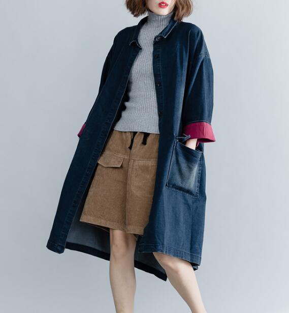 Noir Col Coréen Lapal Chaud Printemps Japaness Femmes Manteaux Mode Et Zo002 Survêtement bleu Streetwear Veste tCshdQrx
