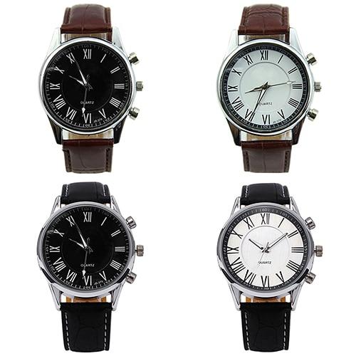 796306f87f6 Roman Dial Homens de Couro Sintético Elegante Analógico de Quartzo relógios  de Pulso Do Esporte 2KQS 6T2H 93VM