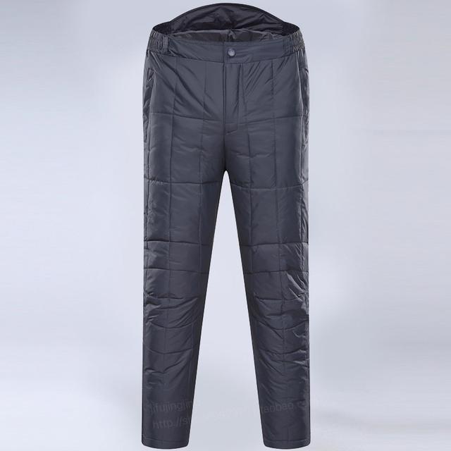 Homem outono Sólidos calças de Alta Elástico Na cintura Reta grossa 100% de pato branco para baixo inverno masculino quente oversized 100% calças para baixo
