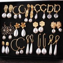 Dvacaman Big Pearl Earrings for Women Gold Color Drop Earrings Jewelry Earrings Irregular Za Dangle Earrings Christmas Statement cheap Zinc Alloy TRENDY Fashion AG97 geometric Freshwater Pearls