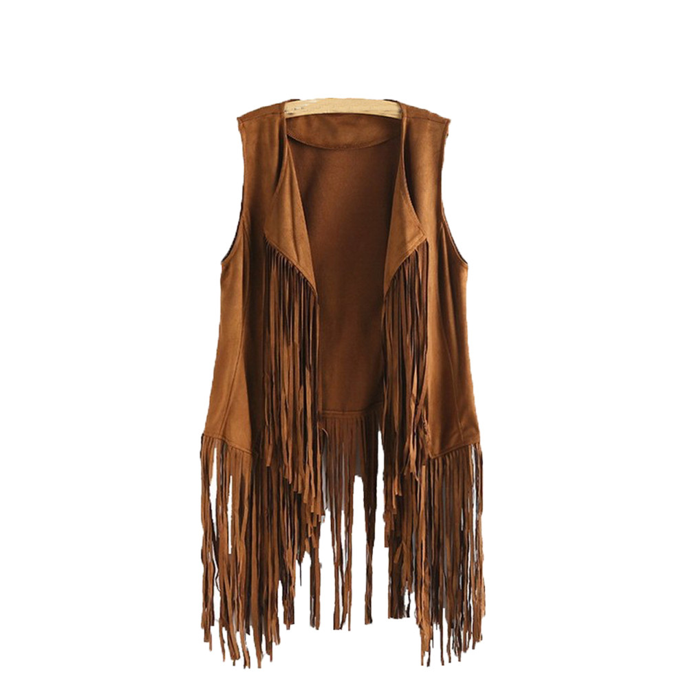 Women Vest Sleeveless Leather Jacket Motorcycle Vest Tops Autumn Winter imitation ethnic suede tassels fringe vest Cardigan