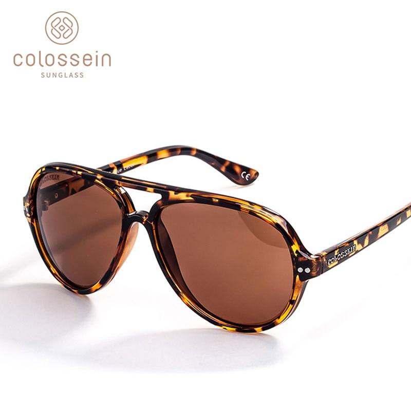 8ada877671 COLOSSEIN Sunglasses Women Retro Polarized Female Classic Fashion Light Sun  Glasses Men Vintage Driving Oval Brown UV400