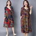 Плюс Размер Белье Женщины Dress Длинным Рукавом Ослабить Ladies Dress Ретро Китайский Стиль Цветочный Принт Беременных Одежда CE343