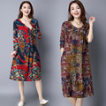 Plus Size Linen Women Dress Long Sleeve Loosen Ladies Dress Retro Chinese Style Floral Print Pregnant Women Clothes CE343