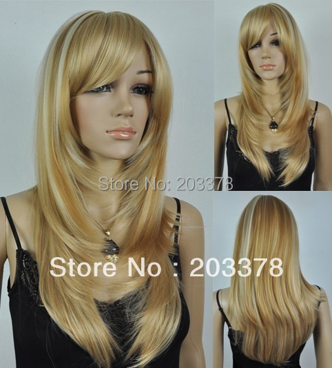 Capless Long Straight Heat-resistant Fashion Mixed Color wig 10pcs/lot mix order free shipping