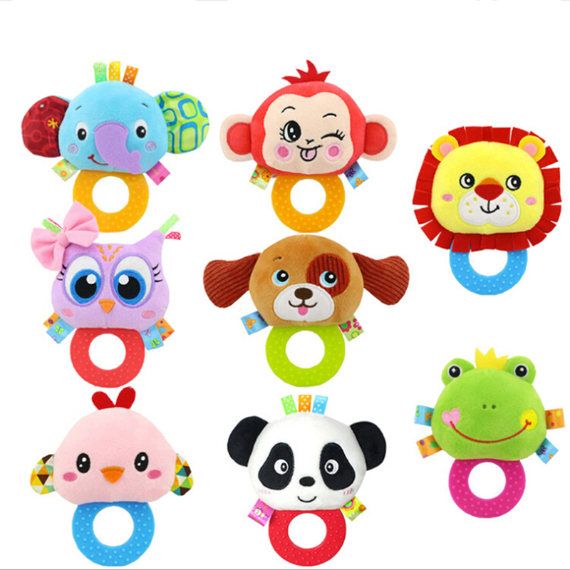 Cartoon Animal Doll Plush Toys With Silicone Food Grade Teethers Baby Stuff Children Hanging Toys For Children