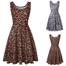 (Ship from US) Feitong Sexy Women Polyester Sleeveless Leopard Print Summer  Beach A Line Casual Dress Party Dress African Dresses For Women f4c0c260c232