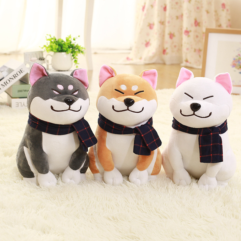 1pcs 25/45cm Cute Wear Scarf Shiba Inu Dog Plush Toy Soft Animal Stuffed Toy Smile Akita Dog Doll for Lovers Kids Birthday Gifts new plush gray akita dog toy lovely cute fat sitting akita dog doll gift about 45cm