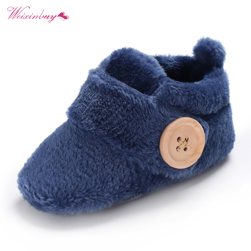 WEIXINBUY Infant Baby Boy Girl Shoes Cute Candy Color Button Baby Warm Shoes Mocassins First Walkers Crib Shoe