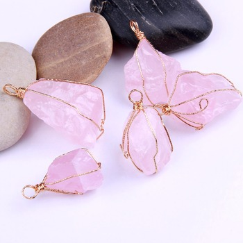 yaye 1pc Natural Rough Stone Raw Quartz Crystal Gemstone Reiki Healing Crystal Pendant Diy Necklace Accessories image