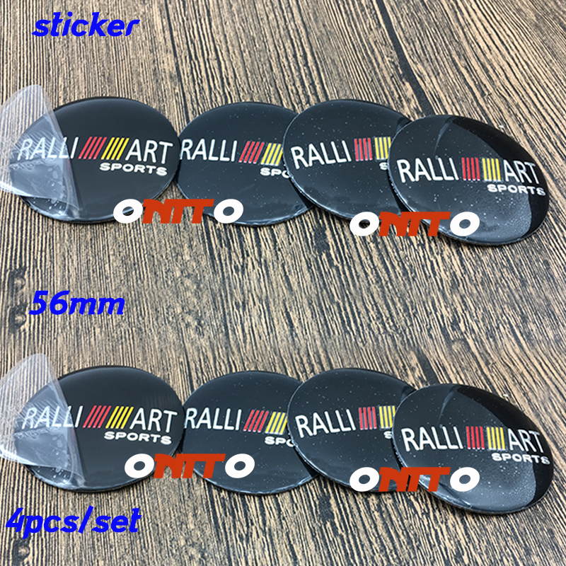 Hot Car Styling 4PC 56mm 2.2inch RALLIART Sports Logo Wheel Badge Emblem Covers Accessorie Decal Label Sticker for Eclipse L200