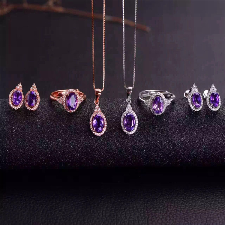 Purple crystal jewelry set 925 silver inlaid natural Uruguay purple crystal suitPurple crystal jewelry set 925 silver inlaid natural Uruguay purple crystal suit