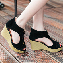 Women's Summer Open Peep Toe Wedges Heel Sandals Casual Leisure Platform Sandals Suede Ladies Sandals 14cm high heel sandals female platform open toe cool boots wedges