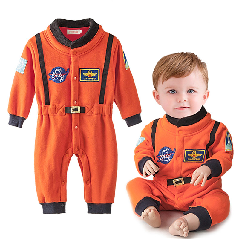 Baby Boys Clothes Newborn Baby Boy Romper Astronaut Clothes Long Sleeve Jumpsuit Orange Embroidery space suit Baby Costumes