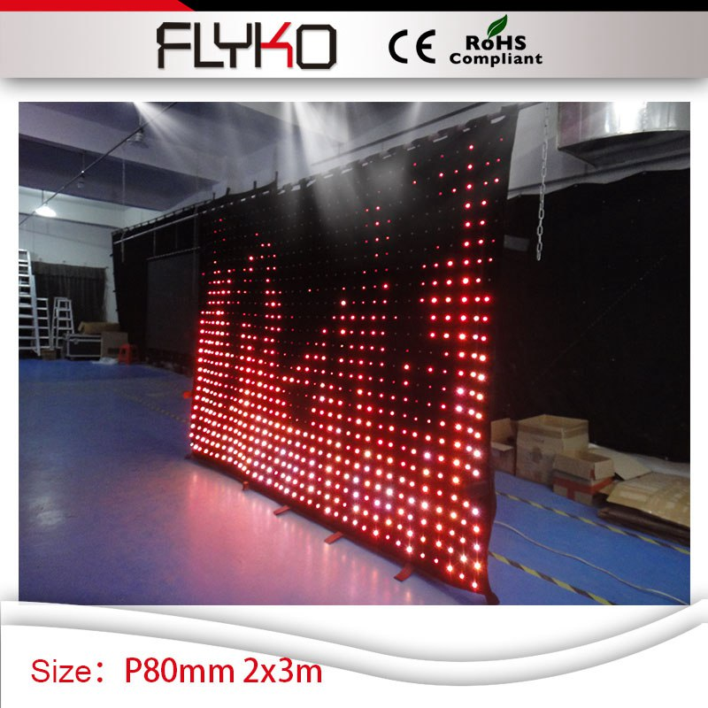 innovative product disco lights used P8cm led twinkle light super screen 2mx3m led display flexible curtain