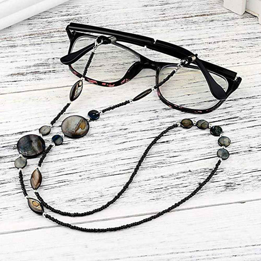 Fashion Reading Glasses Chain for Women Shell Beads Sunglasses Cords Beaded Eyeglass Lanyard Hold Straps Black Eyewear Retainer